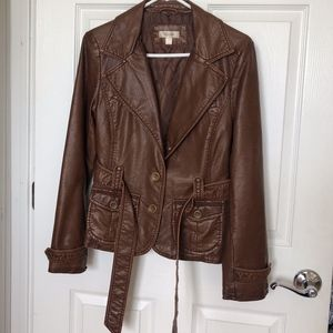 Brown faux leather jacket with attachable faux fur